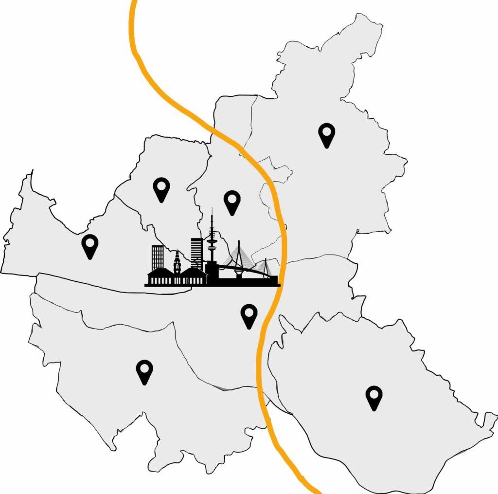 Hamburg Karte Entrümpelung Hamburg Stadtteile